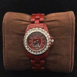 Geneva Bling Red Metal Link Watch